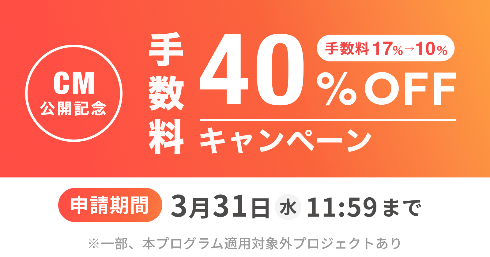 手数料40%OFFキャンペーン