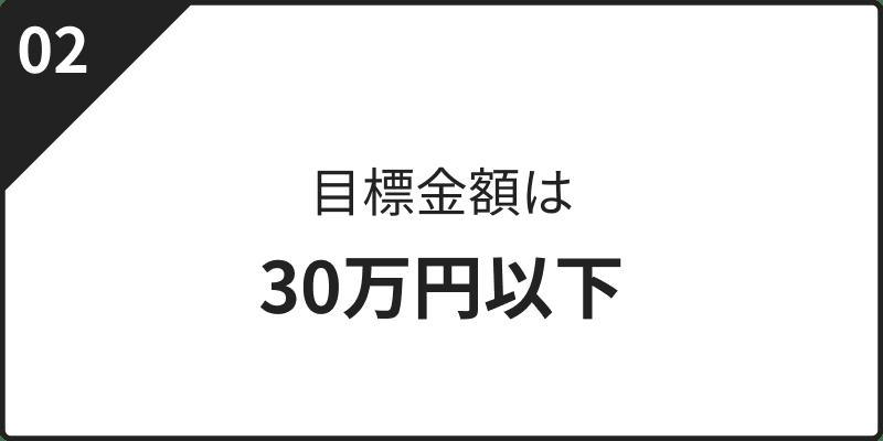 目標金額は30万円以下