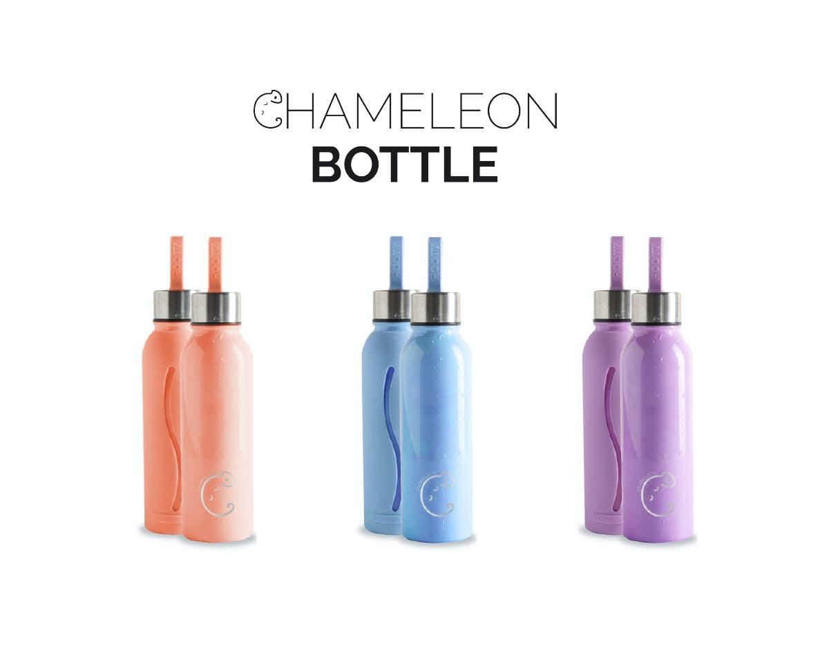 カメレオンボトルのカラー全3色。容量は使いやすい600ml。シンプルなデザインは年齢・性別も問いません。