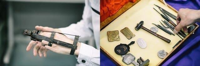 (左)祖父である初代兵之助が自ら作り上げた義肢 (右)祖父の作品と使っていた道具