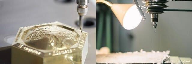 (左)『赤坂式半月彫刻法』とコンピュータ制御加工技術の融合 (右)『赤坂式半月彫刻法』での切削と造形加工
