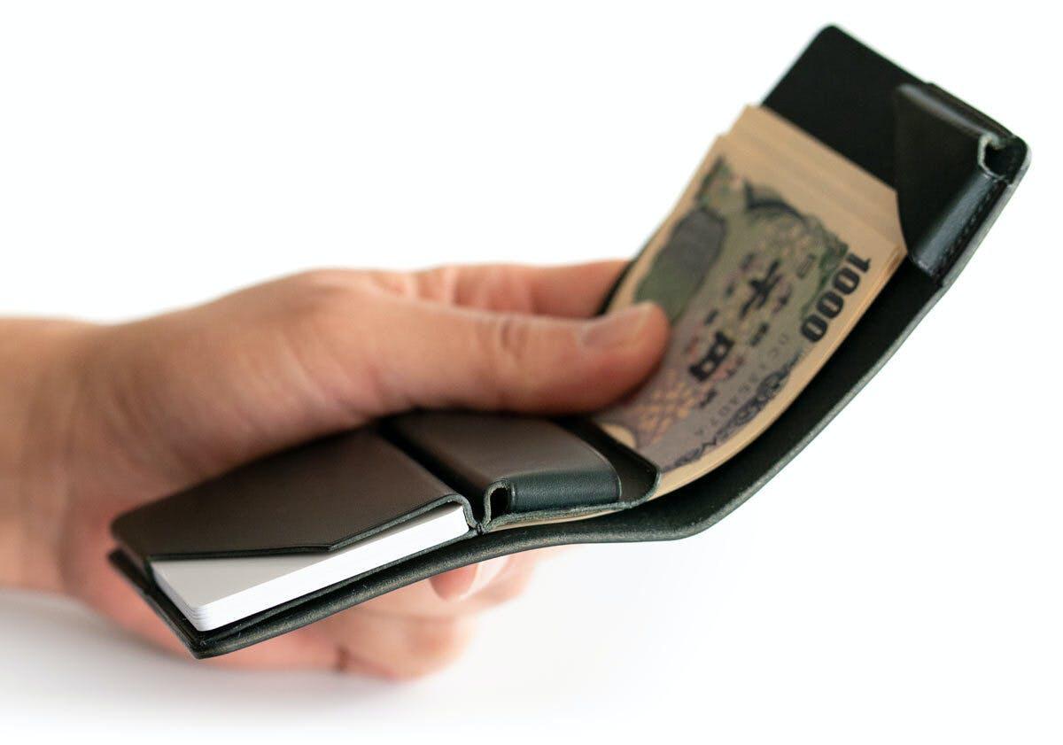 小さな【薄い財布】HITOE Foldの厚革