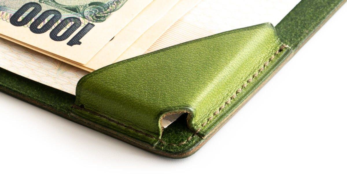 小さな【薄い財布】HITOE Foldのフラップ