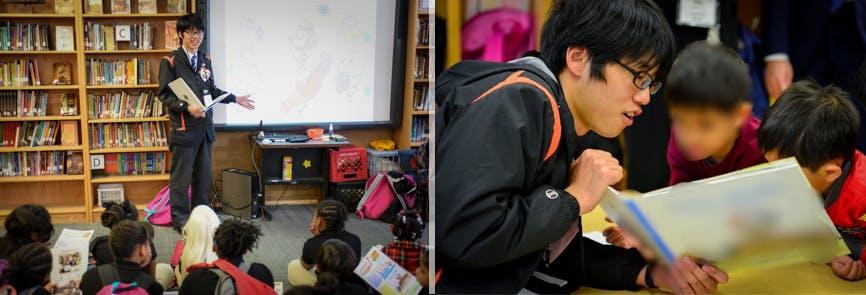 永江が子ども達に絵本の読み聞かせをする様子(写真2枚)
