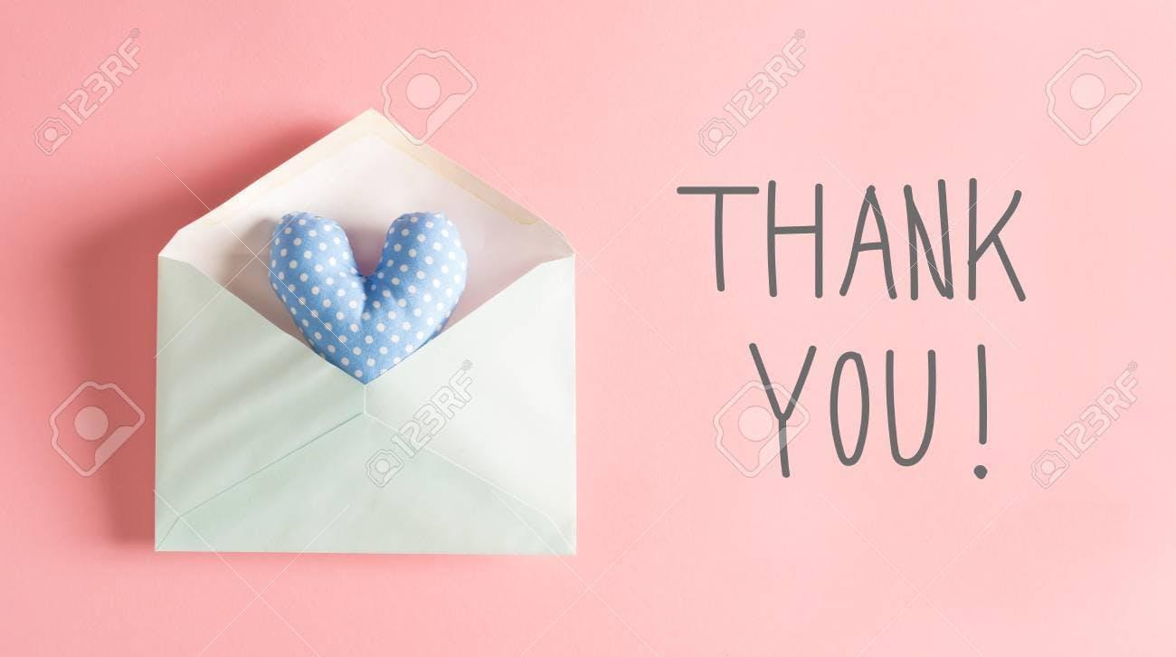 77520191 青いハート クッション封筒にお礼のメッセージ