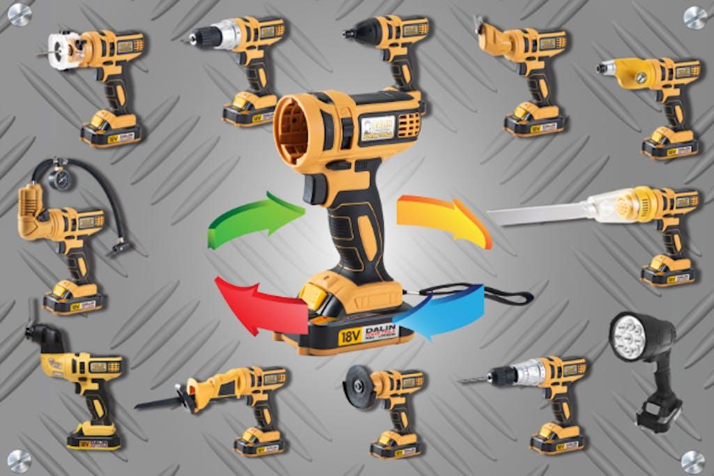 12種の工具を一つに!ヘッド交換式電動工具「達人工具」